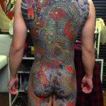 背中一面甲羅彫り 龍 菊